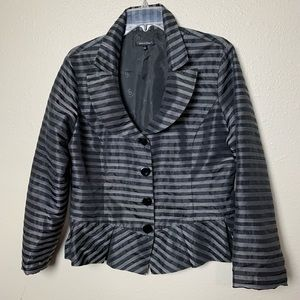 Samuel Dong striped striped pleated blazer